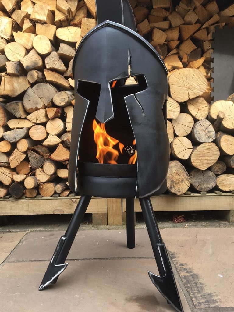 Themed wood burner; Sparta; Spartan; Historical Legend; Custom fire pit; Log Burner; Wood Burner