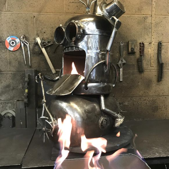 Minion 'Bomb Riding' wood burner
