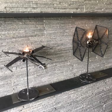 STAR WARS TIE FIGHTER & X WING CANDLESTICKS
