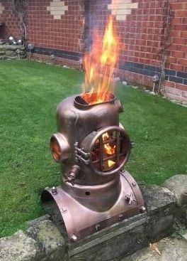 Dive Helmet Wood Burner